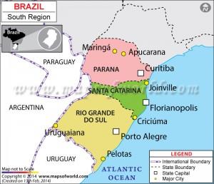 מפה של דרום ברזיל