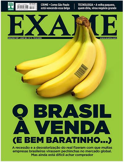 """שער מגזין ה-Exame (האקונומיסט הברזילאי) המבשר """"ברזיל למכירה (ודי בזול)"""""""