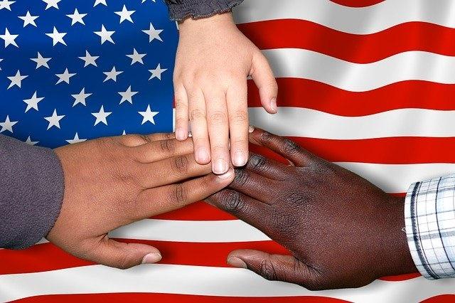 hands on america's flag