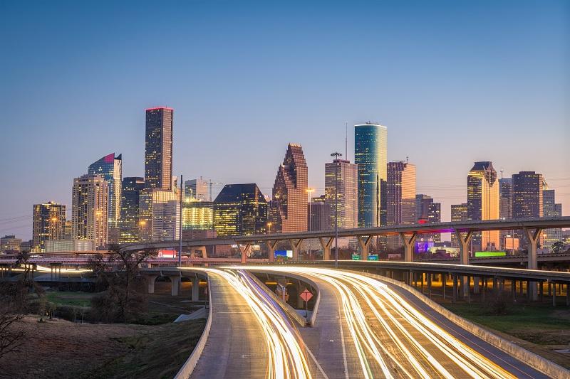 Houston,,Texas,,Usa,Downtown,City,Skyline,And,Highway.