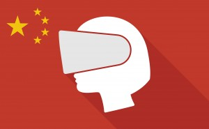 Illustration of a China long shadow flag with   a female head wearing a virtual reality headset
