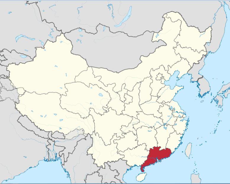 האם אתם מזהים את התרנגול במפה? באדום - מחוז גואנגדונג (קרדיט: By TUBS - Own workThis vector graphics image was created with Adobe Illustrator.This file was uploaded with Commonist.This vector image includes elements that have been taken or adapted from this: China edcp location map.svg (by Uwe Dedering)., CC BY-SA 3.0, https://commons.wikimedia.org/w/index.php?curid=16493599)