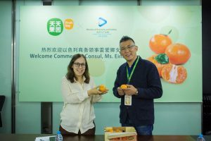 """עינת לב, הנספחת הכלכלית בשנגחאי טעמה את תפוזי האורי הראשונים לעונה ביחד עם וואנג ווי, מנכ""""ל חברת Fruitday המייבאת תפוזי אורי ומשווקת אותם בחנויות בוטיק ובפלטפורמה אינטרנטית ."""