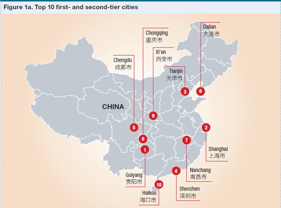 """פריסה גיאוגרפית של עשרת המקומות הראשונים בקטגוריית הערים הגדולות, מתוך דו""""ח מילקן"""