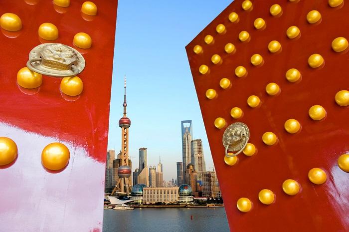 Chinese door and shanghai skyline