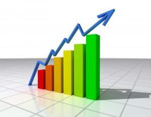 גרף כלכלי צבעוני בעלייה