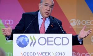 OECD secretary general Jose Angel Gurria speaks during a forum, 28 May 2013