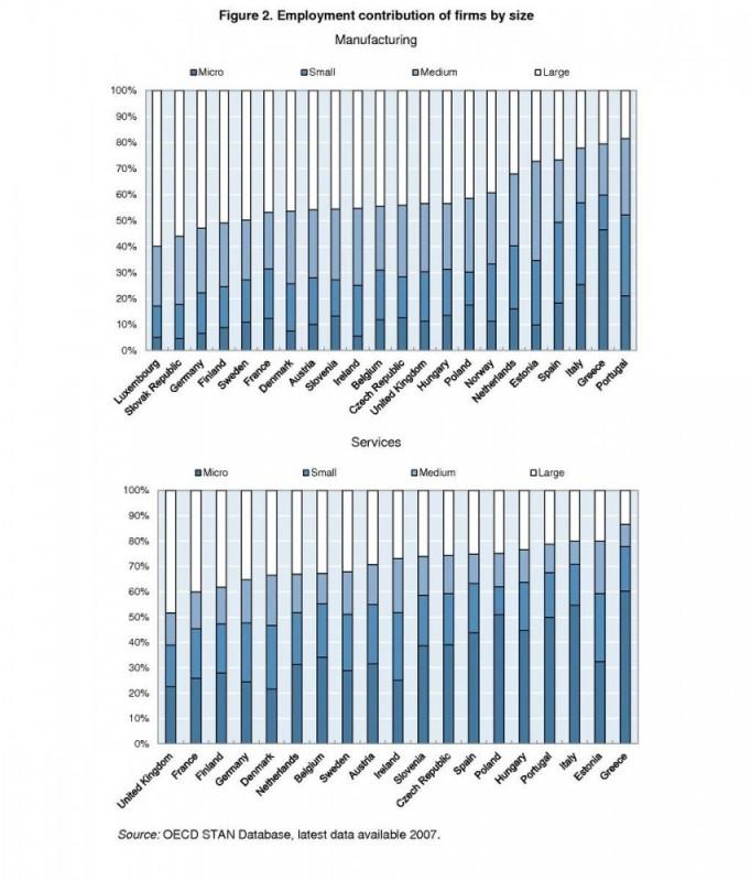 תרומה לשוק העבודה לפי גודל החברה במדינות האיחוד השונות במגזר הייצור ובמגזר השירותים