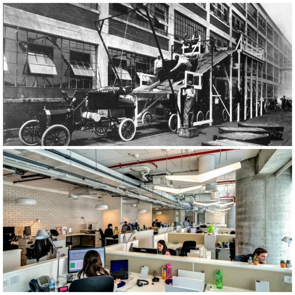 פס ייצור במפעל פורד לעומת משרדי גוגל בתל-אביב. קרדיט תמונה: ויקיפדיה וhome-designing