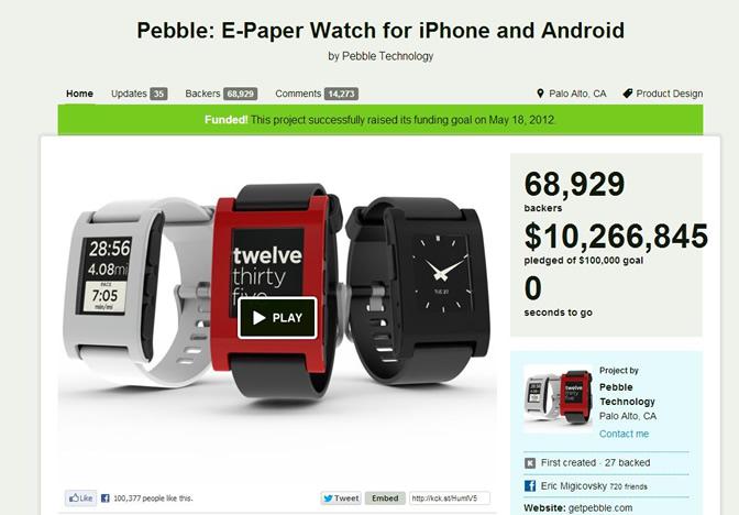 פרויקט מימון המונים השעון החכם של Pebble