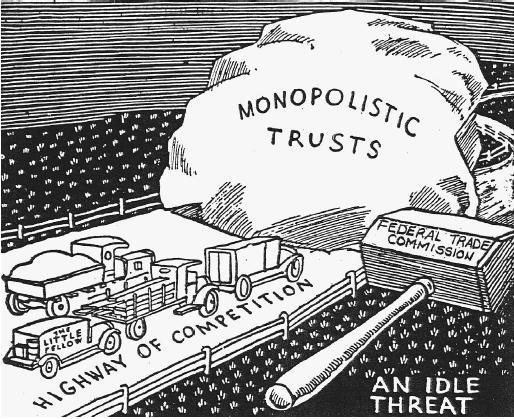 קריקטורה מתחילת המאה ה-20 המתארת את תפקיד החוק להגבלים עסקיים בארה״ב