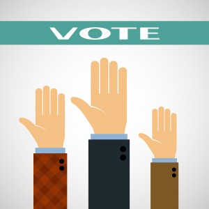 Hands raised up for a vote. Vector Image.