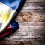 Flag of Philippines on wooden boards