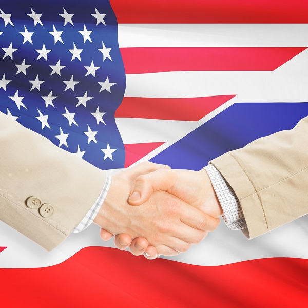 Businessmen handshake - United States and Thailand