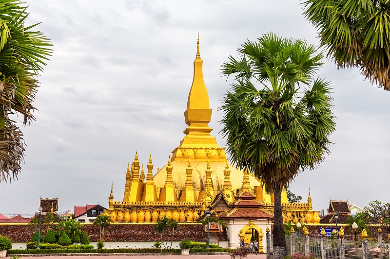 Pha That Luang is a golden Buddhist stupa in the centre of Vient