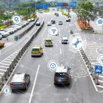 Smart car , Autonomous self-driving mode vehicle on metro city road iot concept with graphic sensor radar signal system and internet sensor connect.