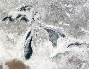 Snowy Great Lakes from space