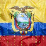 Binary code with Ecuador flag, data protection concept