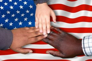 hands on america's flag