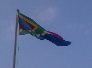 South-African flag in the wind