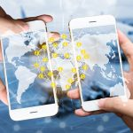 Two Businessman hands holding smartphones. Fintech concept , Peer-to-peer , logistic concept with map and world connect , airplane in airport blue background