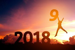 Silhouette young man Happy for 2019 new year