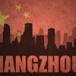 abstract silhouette of the city with text Hangzhou at the vintage chinese flag background