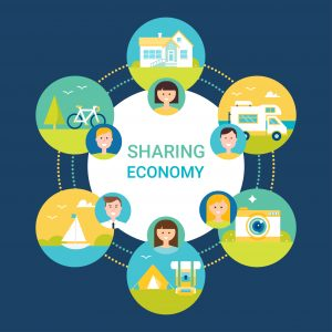 Sharing Economy Vector Illustration. People and Objects Icons. Flat Style