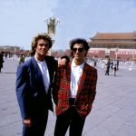 George Michael (left) and Andrew Ridgeley of UK pop group Wham!  in China, April 1985. Wham! became the first western pop group invited to perform live in China, following lengthy negotiations between Napier-Bell and the Chinese Government.  © Ray / Retna UK Credit all Uses