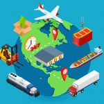 Global Logistics cargo delivery flat 3d isometric pixel art modern design concept vector worldwide shipment boat crate container loader barge van package web banners illustration
