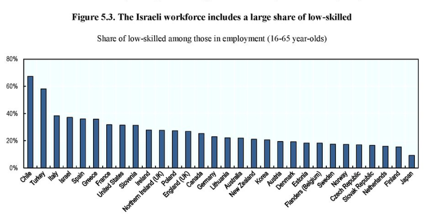 Figure 3.5 The Israeli workforce includes a large share of low-skilled