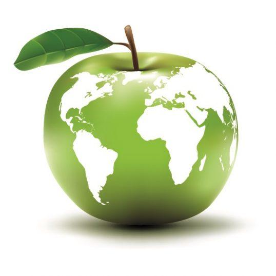 מפת העולם על תפוח ירוק