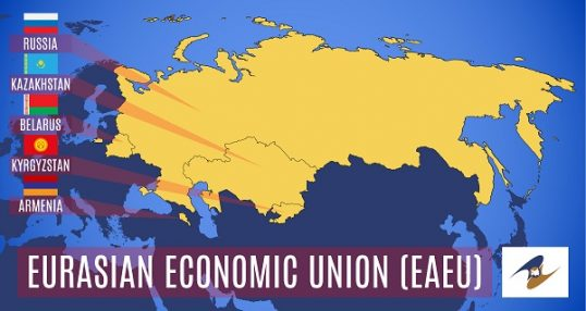 Vector. Schematic map of the member states of the Eurasian Econo