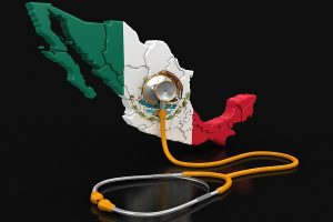 Map of Mexico with Stethoscope (clipping path included)