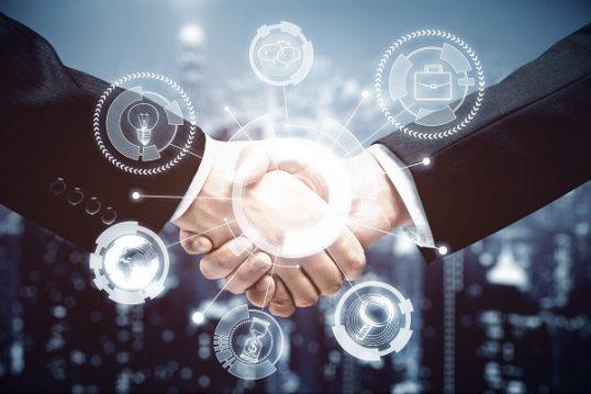 Handshake with digital pattern