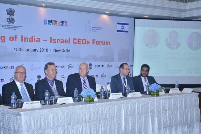 """בתמונה: השקת פורום המנכ""""לים ישראל-הודו בדלהי, ינואר 2018"""