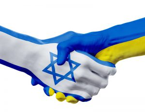 Flags Israel, Ukraine countries, handshake cooperation, partnership, friendship or sports team competition concept, isolated on white